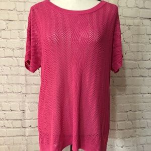 NWT Christopher & Banks crocheted pink sweater